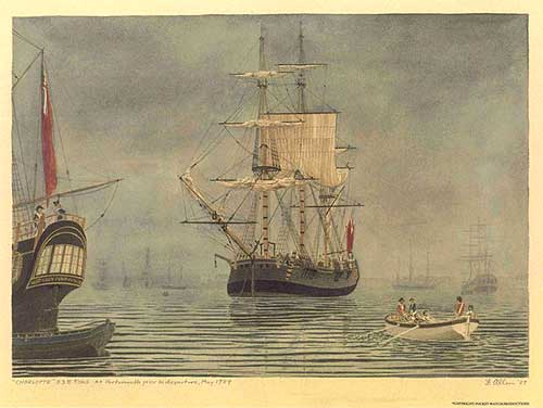 A coloured print of the First Fleet sailing vessel Charlotte at Portsmouth prior to departure, May 1787