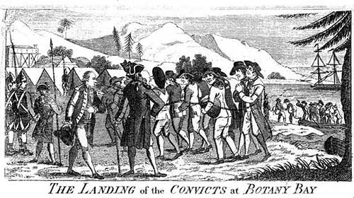 A black and white drawing of convicts in chains moving towards temporary shelters, with officers watching.
