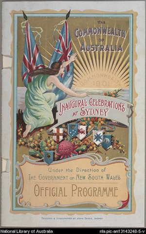 The program cover shows a young woman amongst various state emblems and two flags with the union jack on them, peering towards the horizon where a bright sun is rising. The sun has the words 'Commonwe
