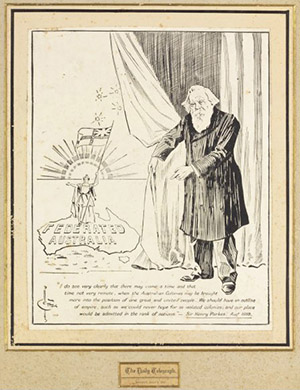 A cartoon showing Henry Parkes unveiling a map of a federated Australia