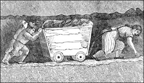 A person is chained to a wagon full of coal and dragging it forward while stooped over in a low roofed mine. Two other miners are pushing the wagon from behind.