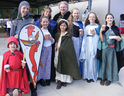 A family group dressed in medieval costume at a recent Lithgow Ironfest, an annual event where many historical re-enactors gather.